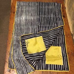 Vintage VERA Silk Scarf Black White Stripe Yellow